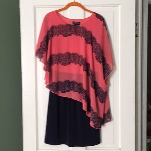 Asymmetrical Coral & Blue Dress Sz 14